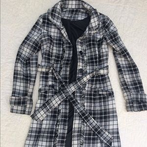 Plaid houndstooth black and white dress long coat